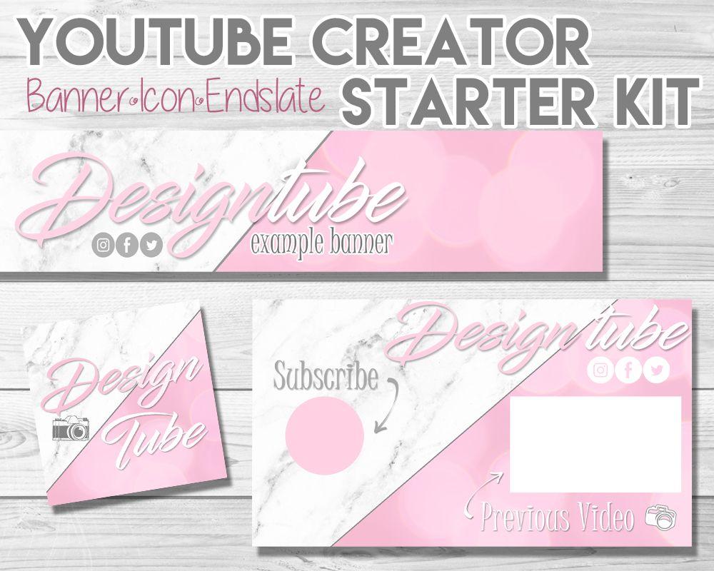 Custom YouTube Creator Bundle YouTube Banner, Endcard