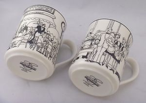 2 Epoch Collection  Le Restaurant  white and black Porcelain Mugs & 2 Epoch Collection