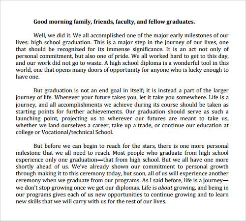 Short Graduation Speech Examples Yahoo Image Search