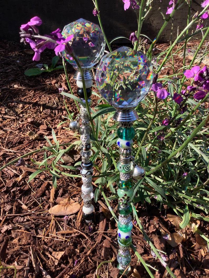 14 beaded fairy garden stakes fairy garden garden art