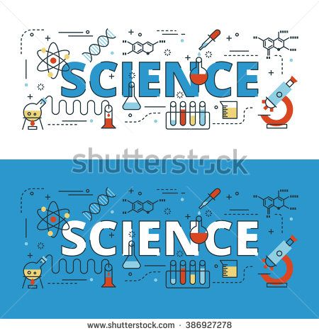 Science Lettering Flat Line Design With Icons And Elements