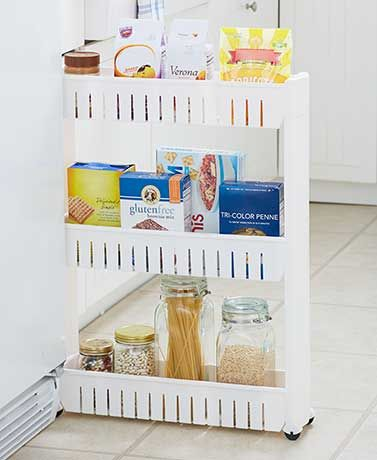 This Space-Saving Slim Rolling Cart will fit in very narrow spaces, especially in the laundry room, kitchen and bathroom. The 3 roomy, open shelves have ra