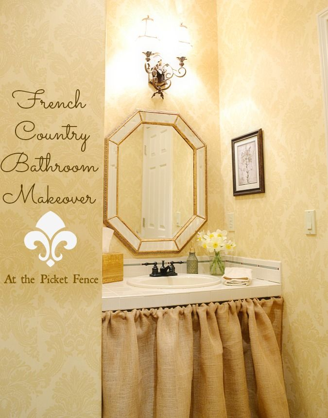 French Country Bathroom Designs french country bathroom makeover | country, sink skirt and faucet