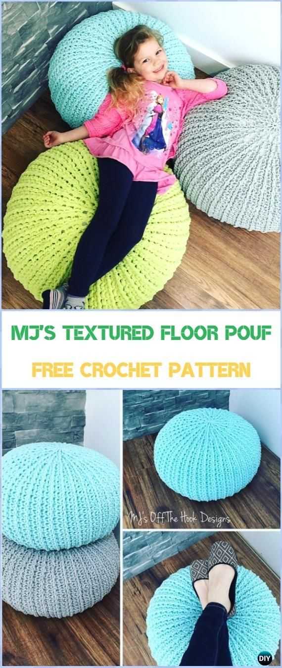 Crochet MJ\'s Textured Floor Pouf Free Pattern - Crochet Poufs ...