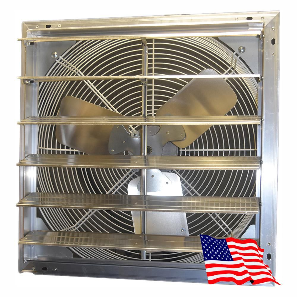 Hessaire 24 In 4600 Cfm Power Shutter Mounted Variable Speed Exhaust Fan 24sfv H Home Cooler Whole House Fan Exhausted