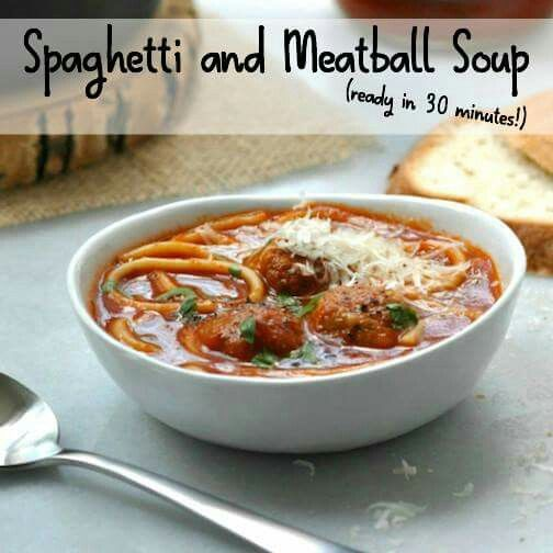 Spaghetti and meatballs soup