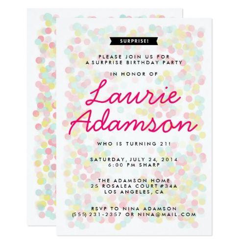 Surprise Birthday Invitations Confetti Surprise Birthday Party - best of birthday invitation card write up
