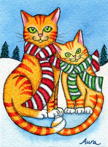 ACEO, miniature art, Christmas, cats, tabby, Holiday, winter, ORIGINAL by Aura