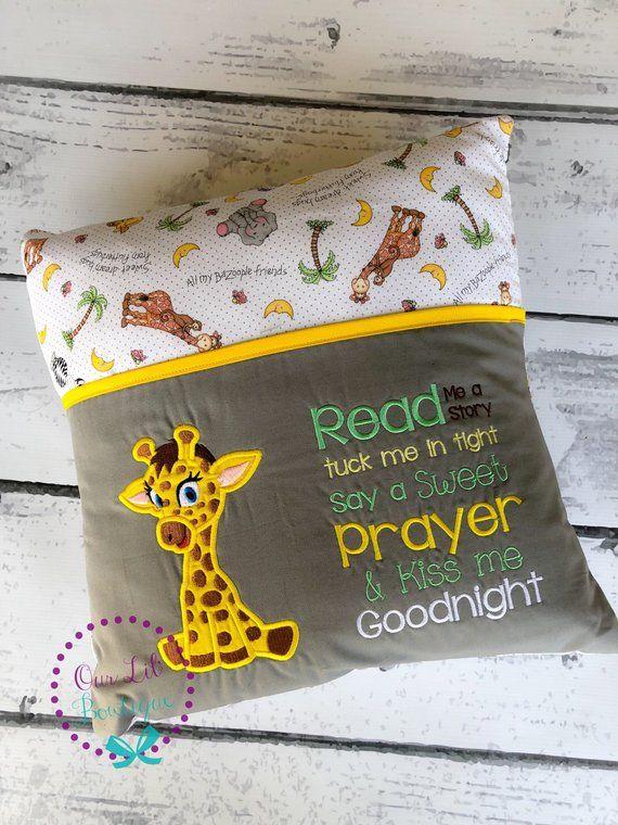 Baby Giraffe Reading Pillow  Kids Reading Pillow  Pocket | Etsy