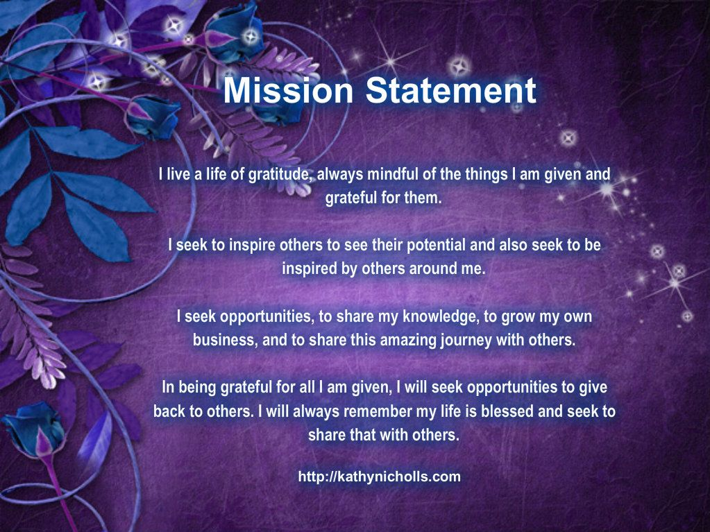 My Personal Mission Statement For 2014 Kathynicholls