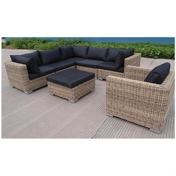 Best Apollo 7 Piece Brown Wicker Lounge Set With Charcoal 400 x 300