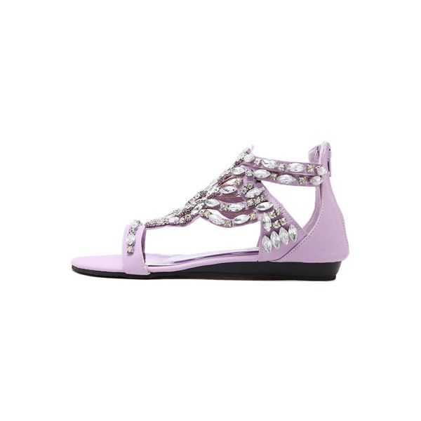 Light Purple Faux Jewel Open Toe Sandals featuring polyvore women's fashion shoes sandals open toe sandals jewel shoes summer sandals man made shoes open toe shoes