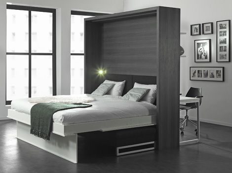Smart en loft bureau aan de wand kastbed opklapbed eiken for Bed in de muur