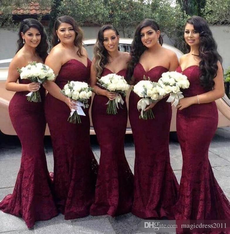 2017 New Burgundy Mermaid Bridesmaid Dresses Elegant Sweetheart Backless Lace Maid Of The Honor Y For