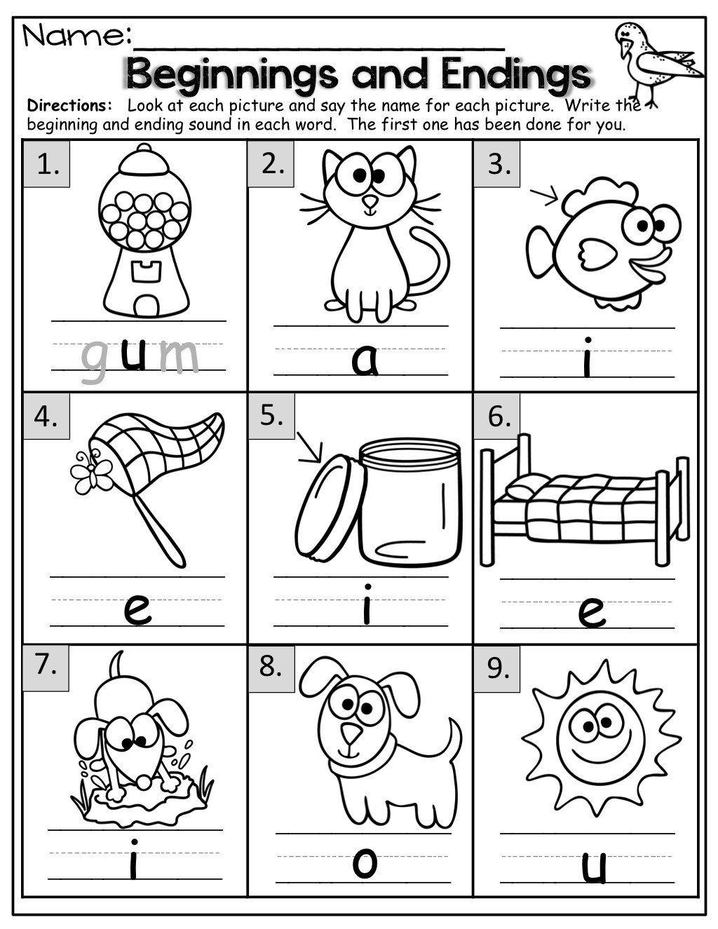 Ending Sound Worksheets For Kindergarten Beginning Middle