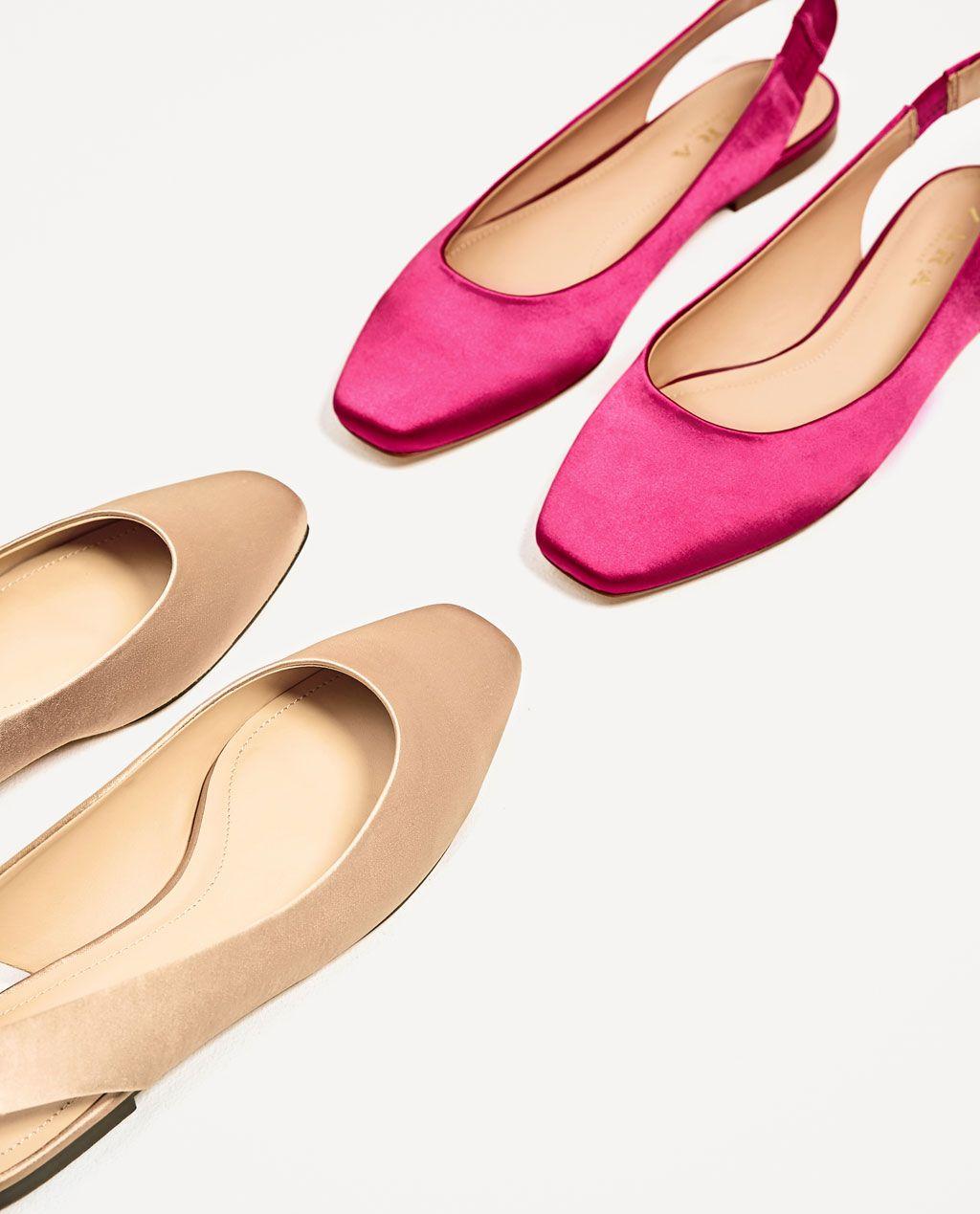 изображение 1 из БАЛЕТКИ ИЗ АТЛАСА БЕЗ ЗАДНИКОВ от Zara Балетная Обувь 50ad9809d89d2
