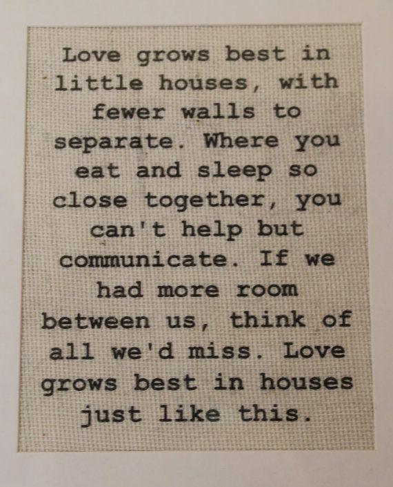 Love Grows Best in Little Houses Burlap SignWall Print Burlap