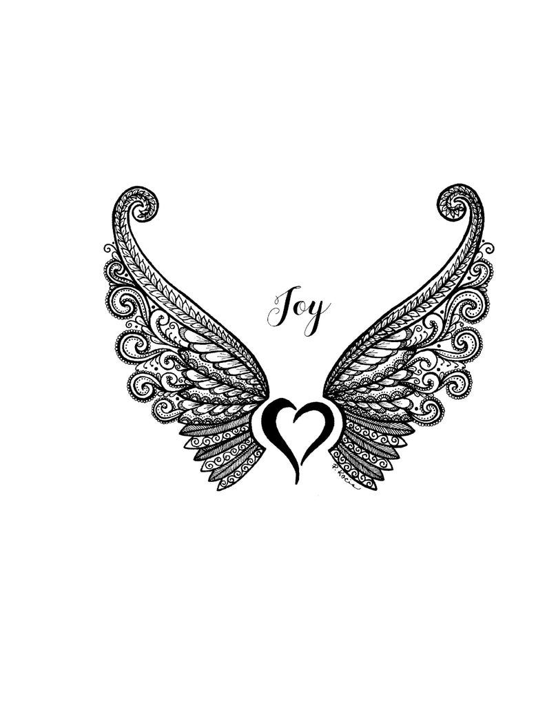 Joy, Angel Wings, Inspiration, Zentangle, Art, Drawings, Pen and Ink, Black and White, Hand Drawn, Custom Art