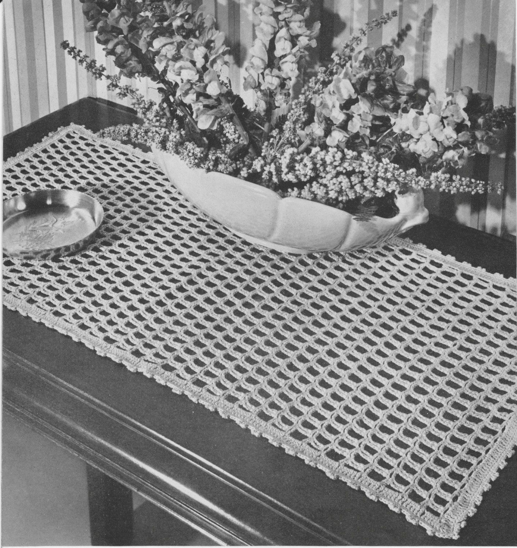 PDF Table Runner Crochet Pattern Shingles Design Hutch Doily