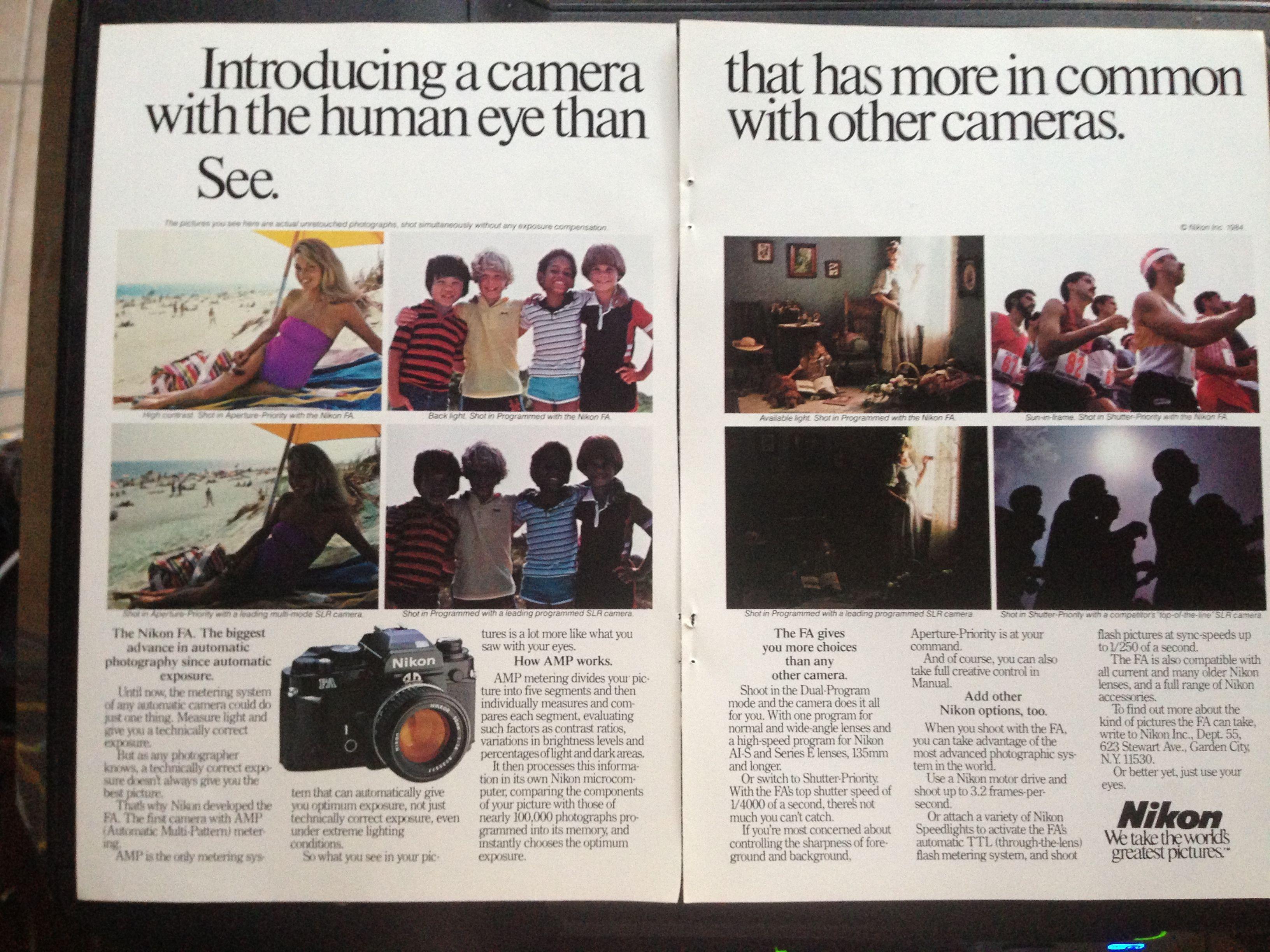 1984 Nikon FA camera ad.   National Geographic, April 1984