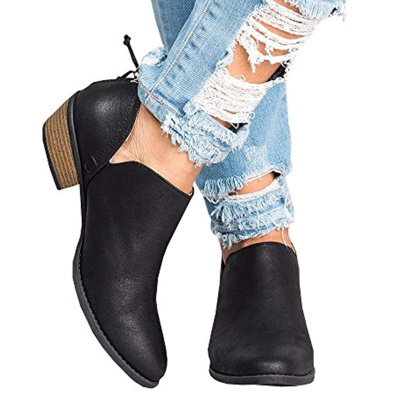 ddcfc3cd47d2 Bottine Femmes Plates Boots Femme Cuir Cheville Basse Bottes Talon Chelsea  Chic Compensé Grande Taille Chaussures 5cm Beige Bleu G…