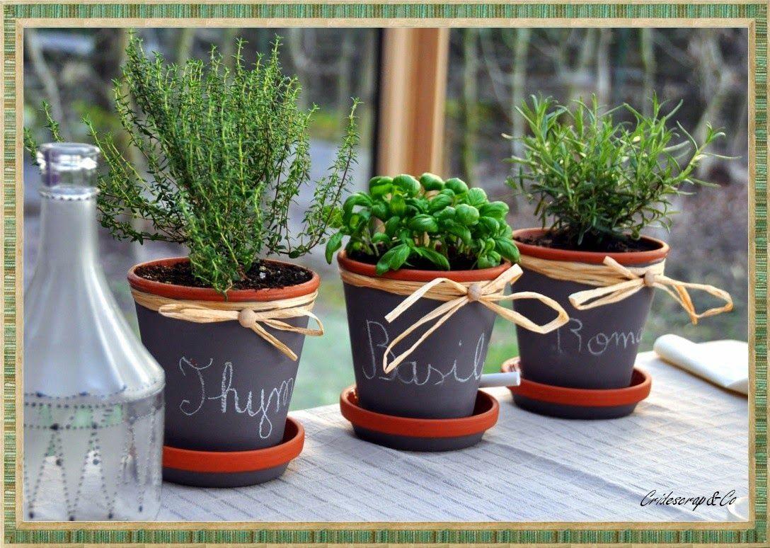 la boutique deco de cridescrapco cache pot en terre cuite herbe aromatique - Decoration De Pot En Terre Cuite