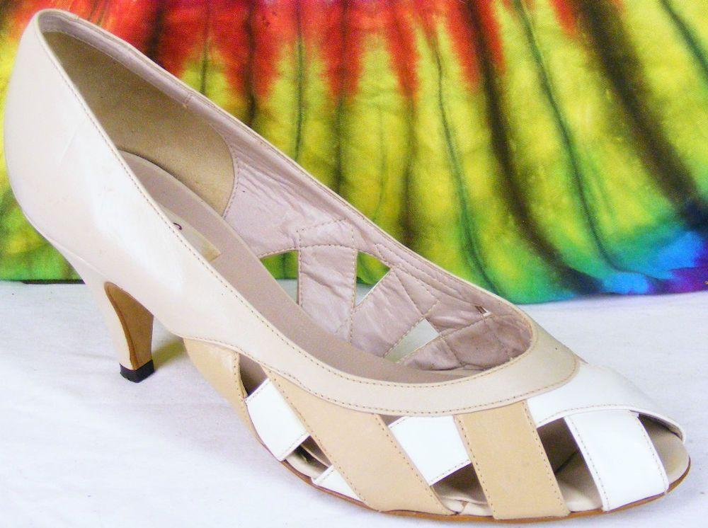 4dcc5909df58c 8 M vintage 80s tan leather VAN ELI peep-toe pumps shoes #VamEli ...