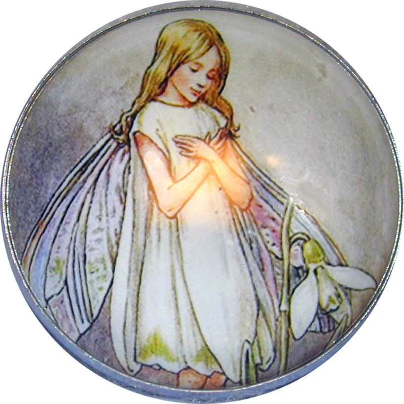 F 01 FREE US SHIPPING Crystal Dome Button Fairy /& Flower /& Light LG SZ
