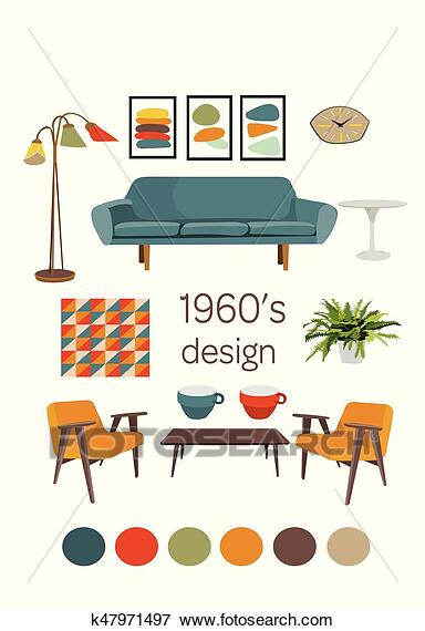 Interior Design 1960 Mid Century Modern Furniture Mood Board Vector Elements Set Clip Art K47971497 Mid Modern Decor Mid Century Interior Design Mid Century Modern Interiors
