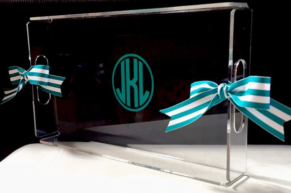 Personalized Acrylic Serving Tray Handles Lucite Tray Hostess Gift Monogram New | eBay