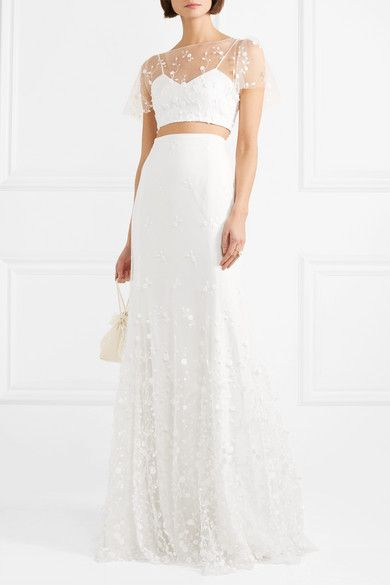 Free Shipping The Cheapest Outlet Latest Collections Salem Embroidered Tulle And Crepe Maxi Skirt - White Rime Arodaky Buy Cheap Low Shipping Clearance Cheap Online icUeop
