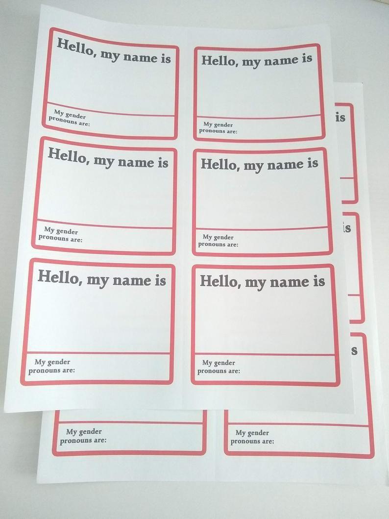 Pronoun Name Tag Stickers Printable Template Download 3 Etsy In 2021 Printable Stickers Name Tag Templates Template Printable