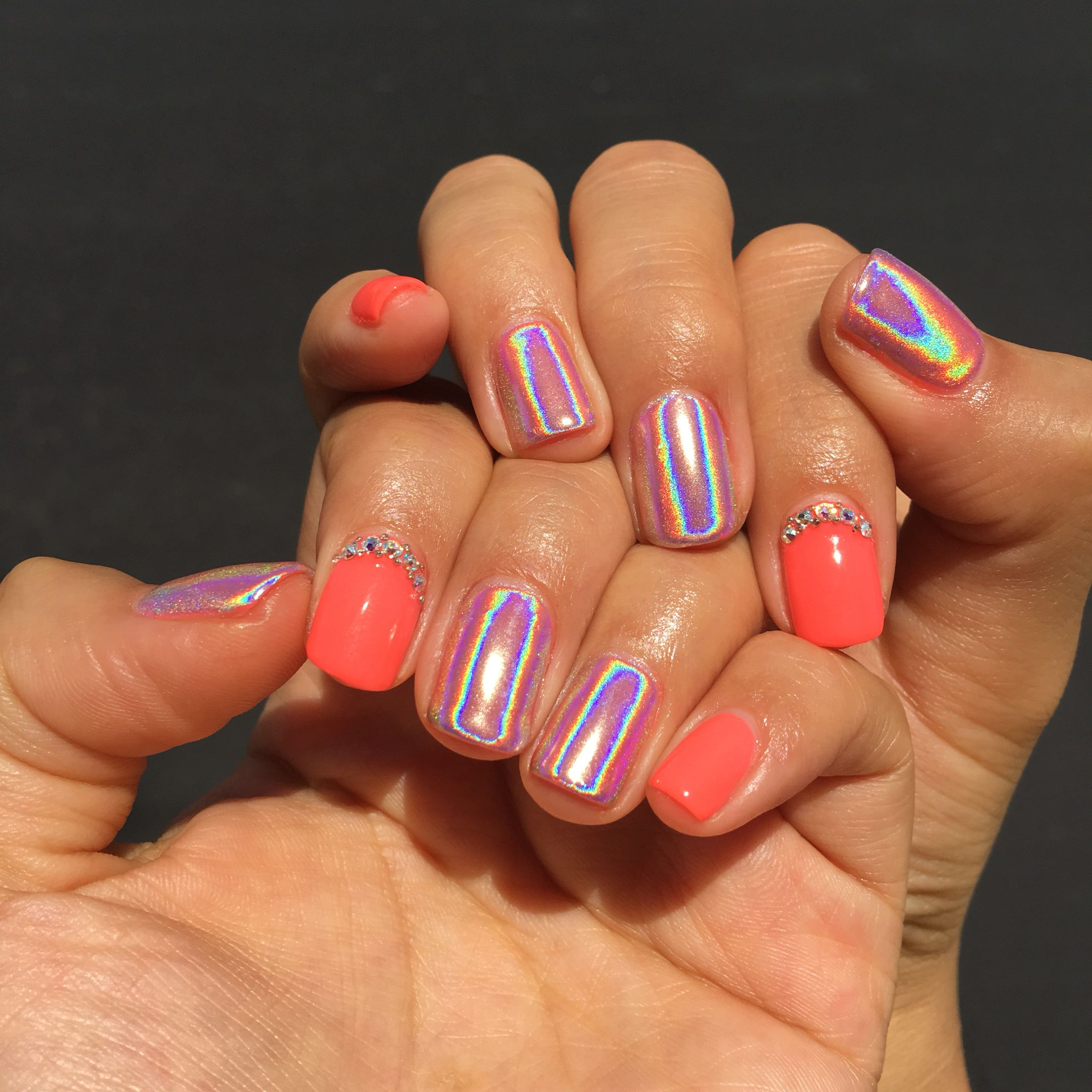Coral Gel Halo Nails #Nails #Gel #Summer #Coral #Nailsbycatie #Halo ...