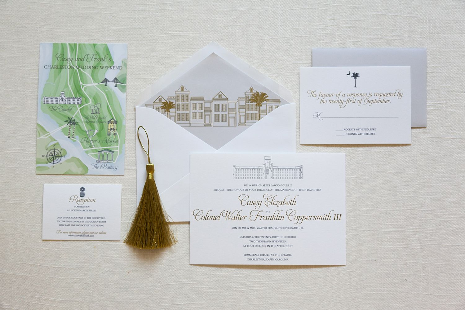 Very classic style in this Citadel wedding invitation paired with a ...