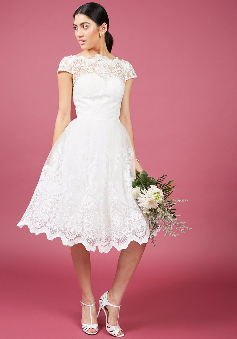 Mini white wedding dress  Chi Chi London Exquisite Elegance Lace Dress in White  Clothes