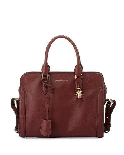 V34Q3 Alexander McQueen Padlock Small Leather Satchel Bag, Oxblood