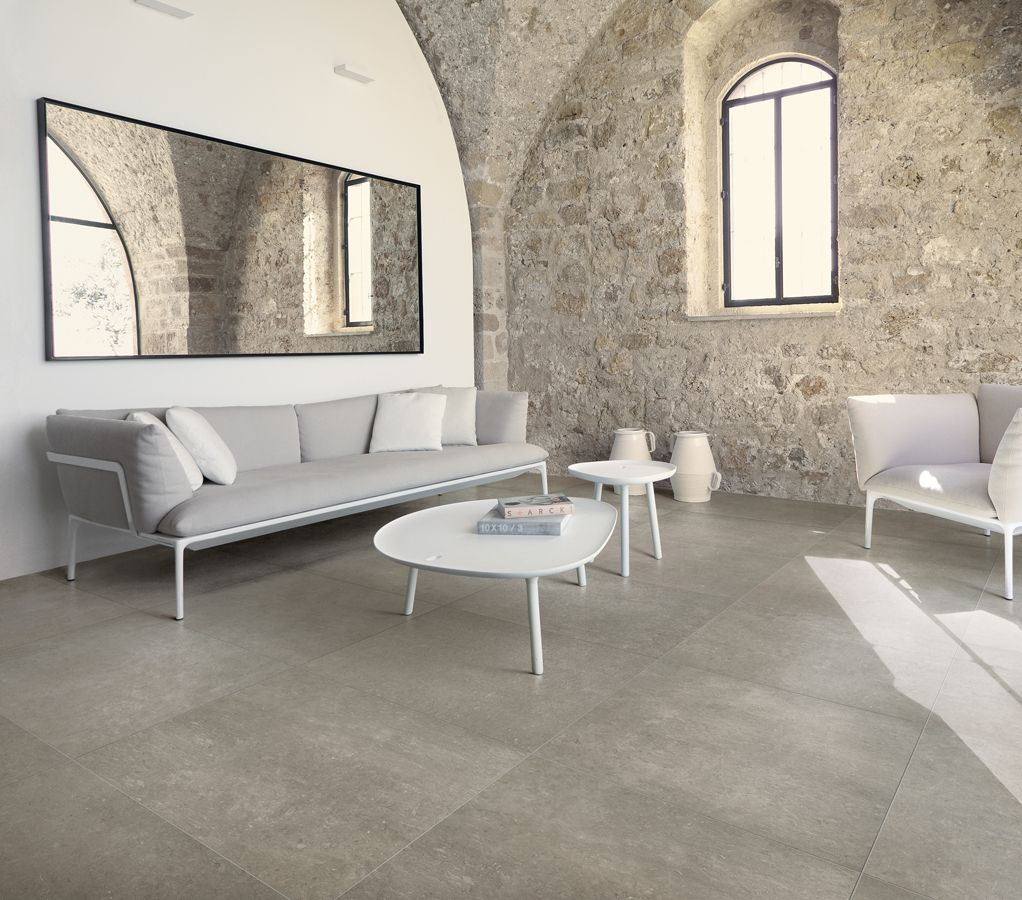 Italian Limestone Mushroom Our Porcelain Tiles Look Right At Home Amongst The Neutral Tones Of This Exposed Brick Living Room