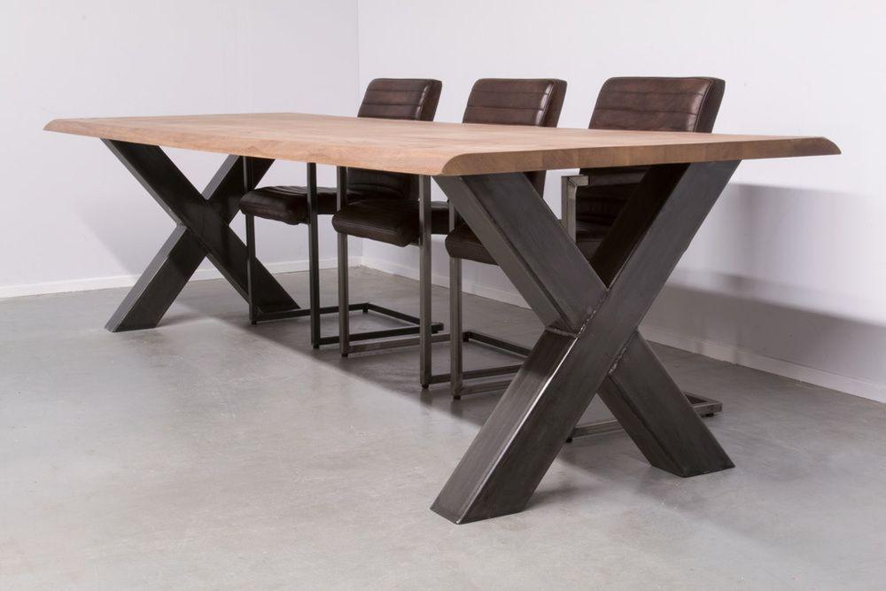 Tafel X Poot : Steigerhout tafel met kruispoten op maat xsteigerhout