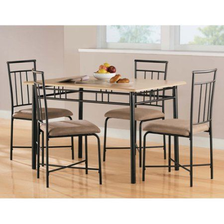 Mainstays 5 Piece Wood And Metal Dining Set Multiple Colors