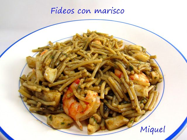 Les receptes del Miquel: Fideos con marisco