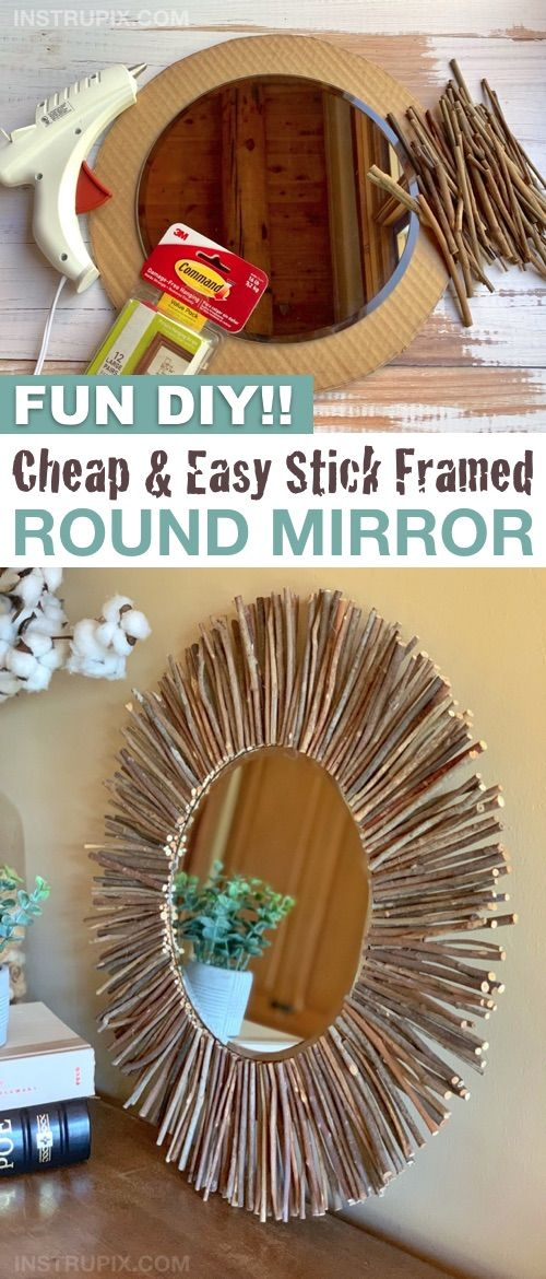 DIY Home Decor: Rustic & Modern Stick Framed Mirror (Cheap & Easy To Make!) Fun Projects & Crafts -   22 home decor for cheap diy wall art ideas