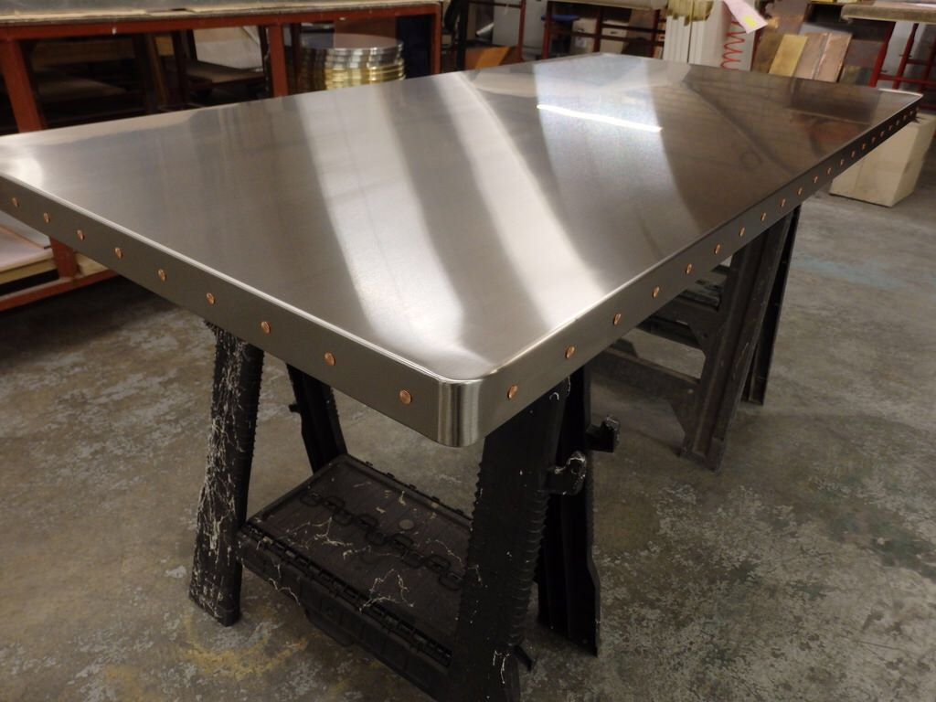 82 Satin Stainless Steel Table Top With Copper Rivets Stainless Steel Dining Table Stainless Steel Table Stainless Steel Table Top