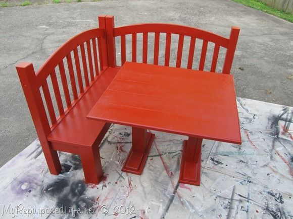Diy kids corner bench banquette toddler bed dining for Repurposed dining table