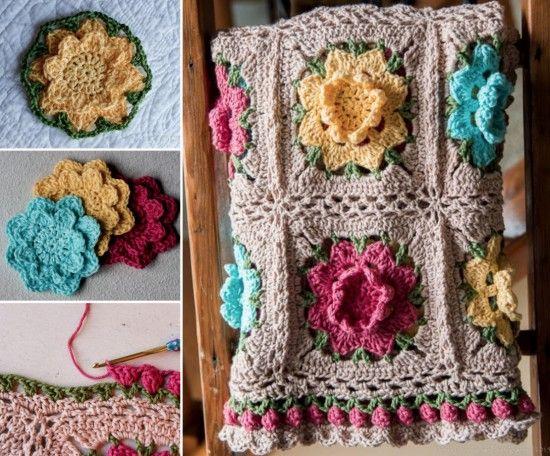 Rose granny square tutorial crochet flowers afghans and free rose granny square tutorial free crochet afghan patternscrochet dt1010fo