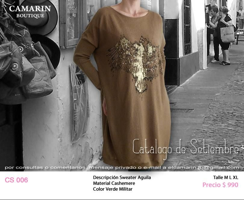 #Sweater Aguila CS 006 Cashemere, Verde militar M,L,XL $990