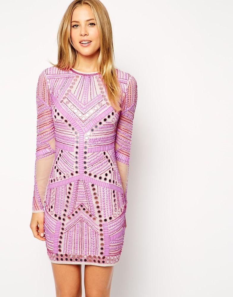ASOS Mirror And Bead Embellished Long Sleeve Mini Bodycon Dress UK ...