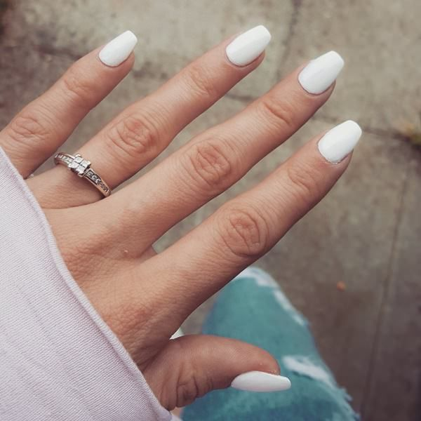 Short White Coffin Nails