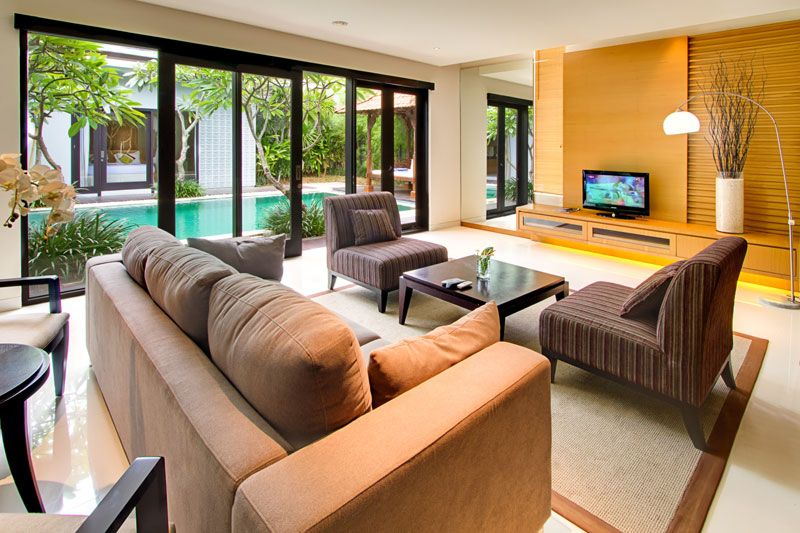 Contemporary Balinese Living Room Large Interior