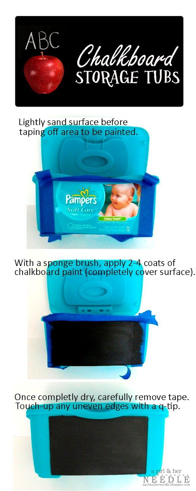 Makeover empty wipes tubs with chalkboard paint. I am going to try ...