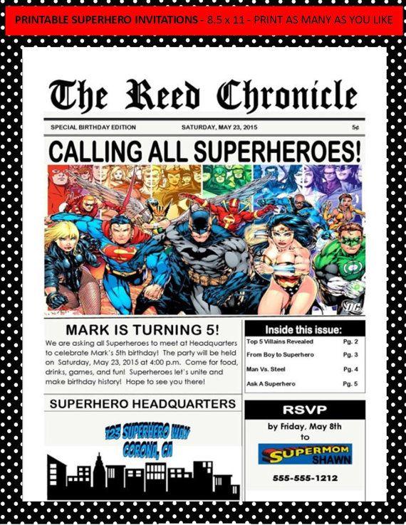 Justice League Superhero Invitations Printable By MyNextBash Lego Birthday Party